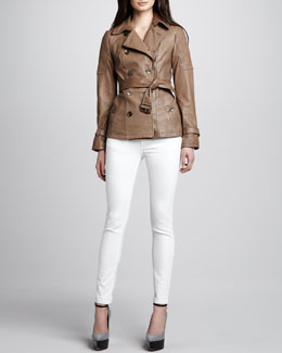 Burberry Brit Skinny Back-Seam Jeans & Moto Leather Trench Jacket
