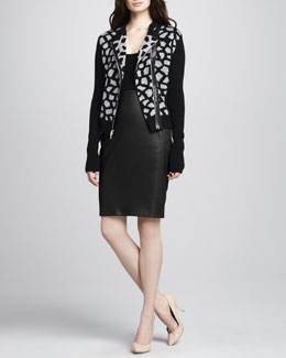 Diane von Furstenberg Harper Print Sweater Jacket & Marta Panel Leather Skirt