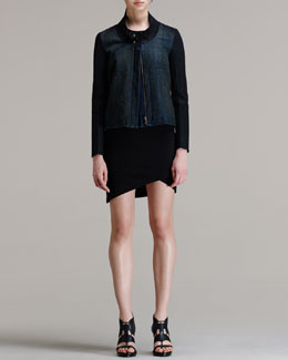 HELMUT Helmut Lang Phantom Contrast-Sleeve Denim Jacket & Form Asymmetric-Hem Dress