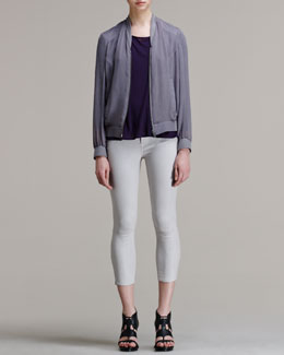 HELMUT Helmut Lang Crinkled Bomber Jacket, Threadbare Dolman Tee & Halo High-Gloss Cropped Skinny Pants