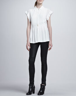 Rachel Zoe Marlene Pleated Blouse & Maxine Skinny Leather Pants