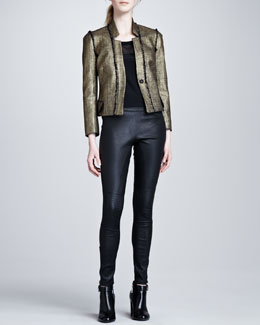 Rachel Zoe Anderson Sheer-Yoke Blouse, Tracy Jacket & Maxine Skinny Leather Pants