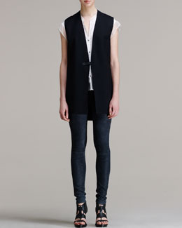 Helmut Lang Ark Suiting Vest, Cap-Sleeve Buttoned Combo tee & Patina Leather Leggings