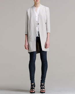 Helmut Lang Matrix Linen-Blend Coat, Buttoned Combo Tee & Patina Stretch Leather Leggings