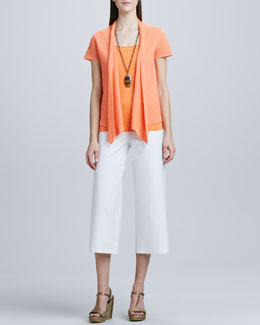 Eileen Fisher Open Asymmetric Linen Cardigan, Slim Tank & Washable-Crepe Cropped Pants