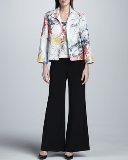 Caroline Rose Paint Splash Boxy Jacket, Basic Tank & Stretch-Knit Wide-Leg Pants, Petite