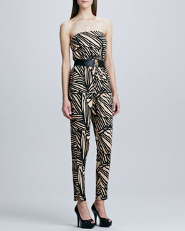 Rachel Pally Lennon Printed Jumpsuit & Elastic Leather-Trim Belt, Women's