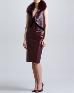 J. Mendel Fox Fur-Collar Leather Vest & Fitted Plunging Leather Dress