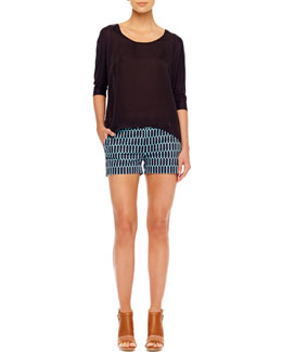MICHAEL Michael Kors  Woven Loose Top & Printed Twill Shorts