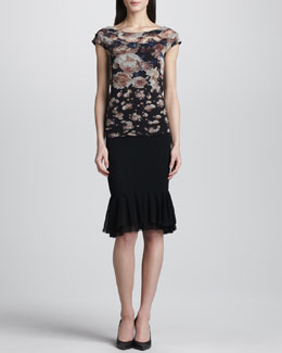Jean Paul Gaultier Printed Cap-Sleeve Top & Pencil Skirt with Tulle Hem