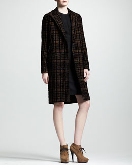 Lanvin Prince-of-Wales One-Button Coat & Velvet-Sleeve Sheath Dress