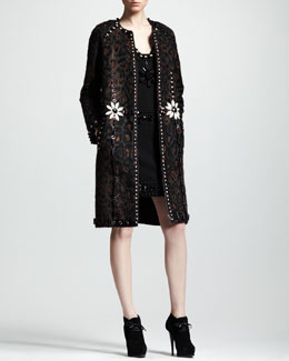 Lanvin Embellished Animal-Print Coat & Embroidered Shift Dress