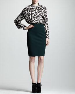 Lanvin Leopard-Print Satin Blouse & High-Waist Back-Zip Pencil Skirt