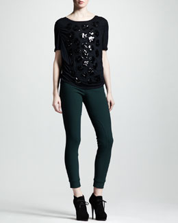 Lanvin Embellished Jersey Tee & Equestrian Stretch Leggings
