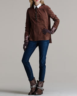 Brunello Cucinelli Seamed Suede Top, Stud-Collar Poplin Blouse, Five-Pocket Jeans, Satin Cashmere Gloves & Smoky Quartz Bolo Tie Necklace