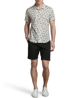 Theory Hummingbird-Print Short-Sleeve Shirt & Perth Cotton Shorts