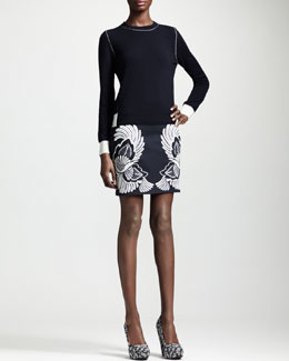 Stella McCartney Contrast-Trim Crewneck Sweater & Flower-Feather Embroidered Mini Skirt