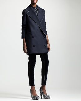 Stella McCartney Boxy Double-Breasted Coat, Kestrel-Back Blouse & Velvet-Panel Ankle-Zip Jeans