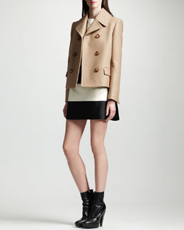Stella McCartney Short Pea Coat & Striped Contour-Seam Dress