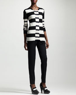 Stella McCartney Block-Stripe Knit Top & Slim Tropical Wool Pants