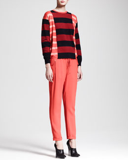 Stella McCartney Block-Stripe Tunic Sweater & Zip-Pocket Drawstring Pants