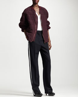 Stella McCartney Boxy Quilted Bomber Jacket, Tulip-Shoulder Top & Contrast-Stripe Tuxedo Pants
