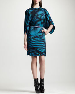 Stella McCartney Striped Tulip-Sleeve Dress & Crystal-Embellished Satin Belt
