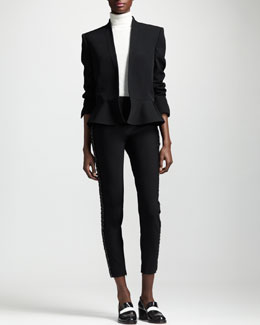 Stella McCartney Shawl-Collar Peplum Jacket, Wool-Silk Turtleneck Sweater & Bead-Stripe Cropped Skinny Pants