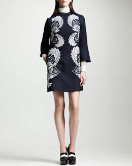 Stella McCartney Wool-Silk Turtleneck Sweater and Embroidered Trumpet-Sleeve Dress