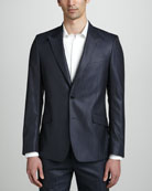 Tonal Herringbone Two-Button Jacket & Long-Sleeve Dress Shirt