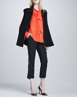 L'Agence Long-Sleeve Tie-Neck Blouse, Zip-Front Cape & Cropped Tuxedo Pants