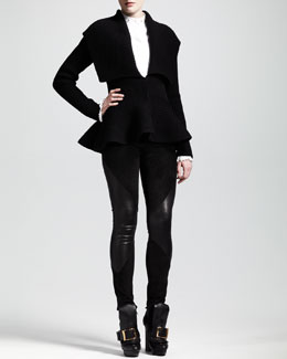 Alexander McQueen Ribbed Peplum Jacket, Studded Poplin Shirt & Skinny Suede/Leather Pants