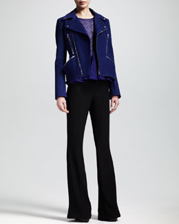 Alexander McQueen Nubuck Motorcycle Jacket, Sleeveless Lace Peplum Top & High-Waist Flare Pants