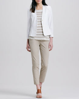 Theory Dalite Fitted Blazer, Lisso Striped Slub Top, & Leska Slim Twill Trousers