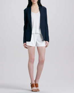 Theory Dalaine Linen-Blend Blazer, Randelle Slub-Knit Top, & Clah Relaxed Twill Shorts