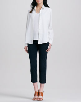 Theory Tritta Button-Down Blouse, Ossia Sleeveless Slub Top, & Scyler Slim Cropped Pants
