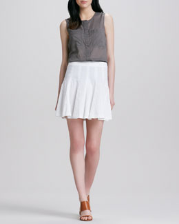 Theory Eriel Crepe Pocket Blouse & Eliza Fluted Skirt