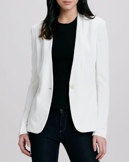 Theory Ada Relaxed Twill Jacket & Loasa Ponte Peplum Top
