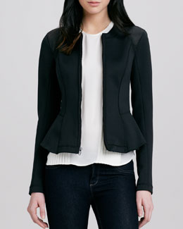 Theory Jondi Windsurf Fitted Jacket & Sellida Pintucked Silk Top