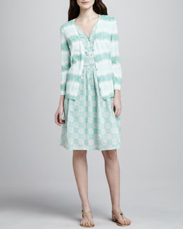 Tory Burch Theo Tie-Dye-Stripe Cardigan & Nico Printed Pintucked Dress