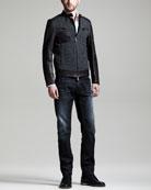 Herringbone & Leather Bomber Jacket, Dean & Dan Stretch-Poplin Shirt & Black Denim Jeans