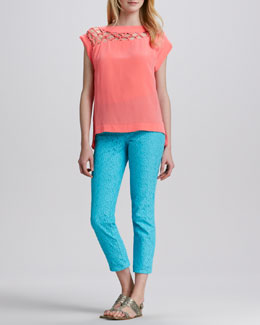 Nanette Lepore Tossa De Mar Silk Top & Lace-Texture Slim Pants