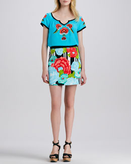 Nanette Lepore La Boqueria Embroidered Top & Flamenco Floral-Print Skirt