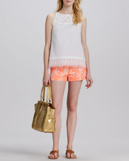 Milly Sienna Embroidered-Trim Top & Printed Beach Shorts