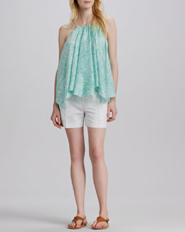 Milly Uneven Gathered Chiffon Tank & Side-Pocket Silk Shorts