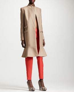 Stella McCartney Flounce-Hem One-Button Coat, Piped Silk Crepe de Chine Blouse & Tapered Pants