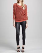 Sequined Open-Mesh Sweater & Karen Leather Stretch Pants