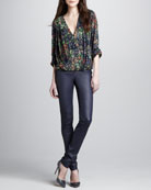 Gemma Floral-Print Top & Leather Zip-Front Leggings