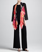 Waterfall Printed Georgette Jacket, Long Tank & Stretch-Knit Wide-Leg Pants, Petite