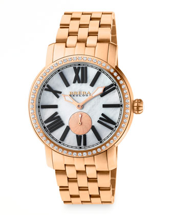42mm Valentina II Diamond Rose Golden Watch Head & 22mm Bracelet Strap ...